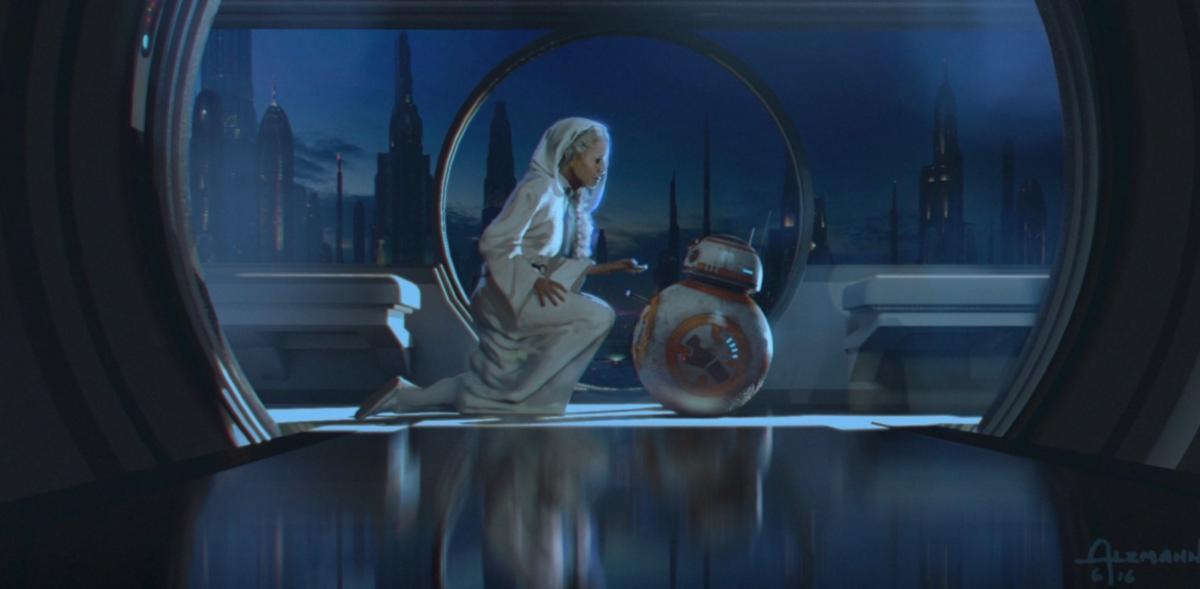 Leia and BB-8 (Possibly Leia recording the hologram)